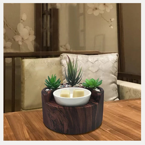 8w Garden Electric Wax Burner Walnut - Candles Sniffs & Gifts