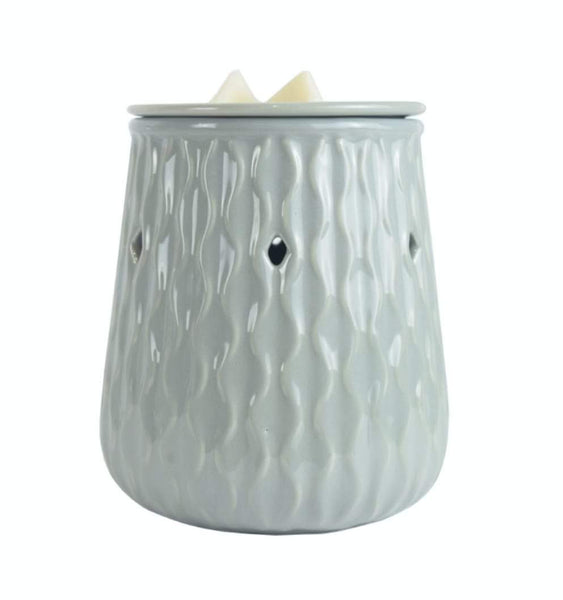 Grey Ripple Ceramic Electric Wax Melt Burner - Candles Sniffs & Gifts