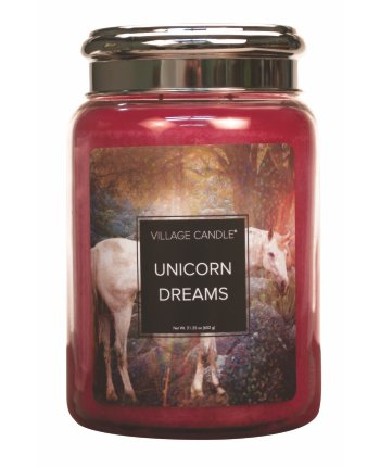 NEW Village Candle Fantasy Collection Unicorn Dreams Large Jar 26oz 1219g - Candles Sniffs & Gifts