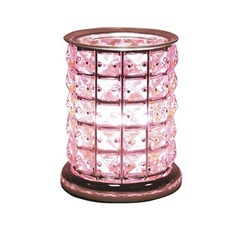 NEW Touch Sensitive Pink Glass Crystal Electric Wax Melt Burner 17cm - Candles Sniffs & Gifts