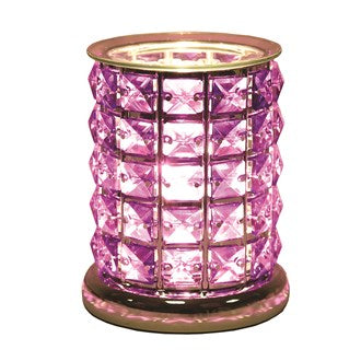 NEW Touch Sensitive Purple Glass Crystal Electric Wax Melt Burner 17cm - Candles Sniffs & Gifts