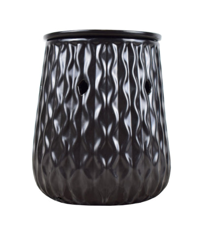 Black Ripple Ceramic Electric Wax Melt Burner - Candles Sniffs & Gifts