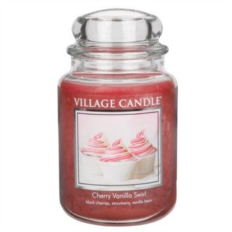 Village Candle Cherry Vanilla Swirl Large Jar 26oz 1219g - Candles Sniffs & Gifts