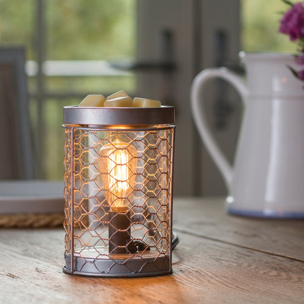 Edison Bulb Electric Wax Melt Warmer Burner Chicken Wire - Candles Sniffs & Gifts