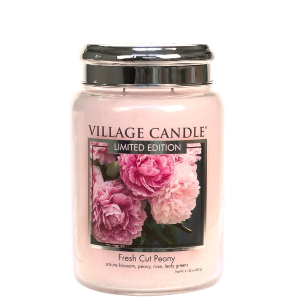 NEW Village Candle Limited Edition Fresh Cut Peony Large Jar 26oz - Candles Sniffs & Gifts