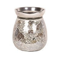 Gold Silver Crackle Electric Wax Melt Burner 14cm - Candles Sniffs & Gifts