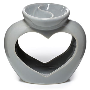 Grey heart double tea light burner - Candles Sniffs & Gifts