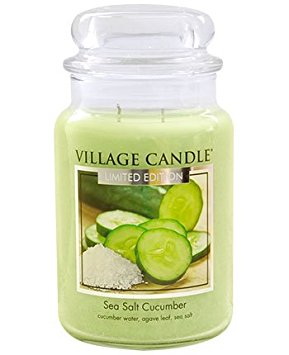 Limited Edition Village Candle Sea Salt & Cucumber Large Jar 26oz 1219g - Candles Sniffs & Gifts