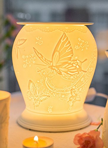 Ceramic Silk Wings Butterfly Electric Wax Melt Burner - Candles Sniffs & Gifts