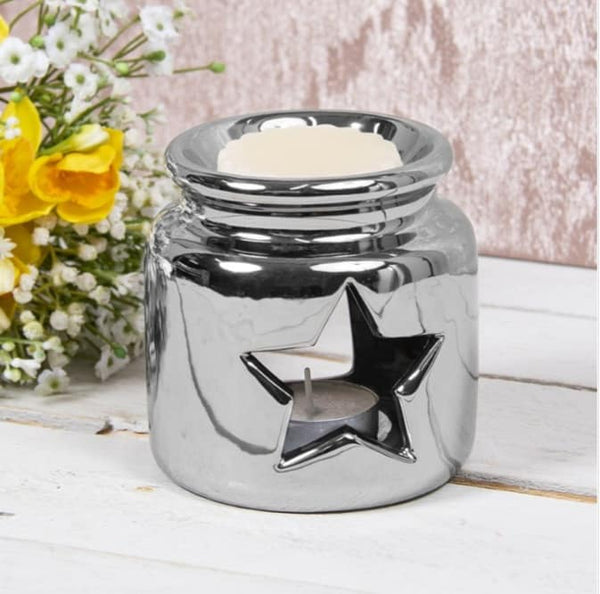 Silver Star Tea Light Burner - Candles Sniffs & Gifts