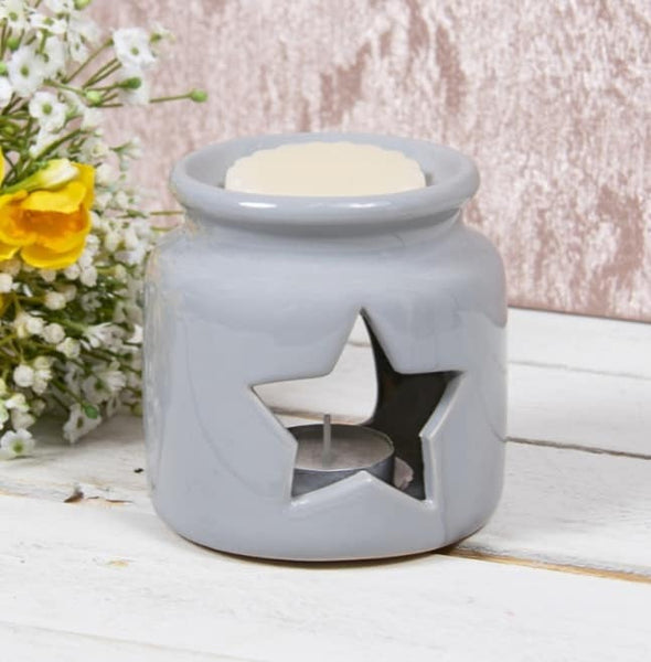 Grey Star Tea Light Burner - Candles Sniffs & Gifts