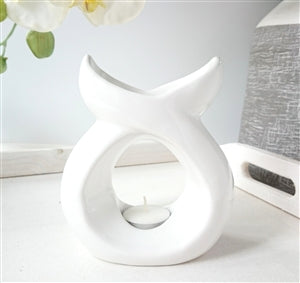 WHITE SERENITY Tea Light Burner - Candles Sniffs & Gifts