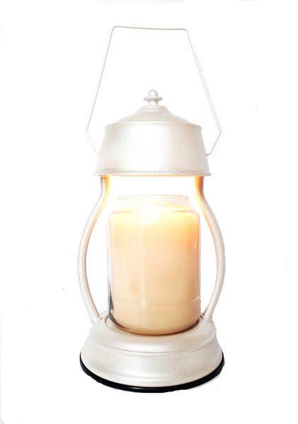 White Glitter Electric Candle Warmer Lantern Lamp 35w - Candles Sniffs & Gifts