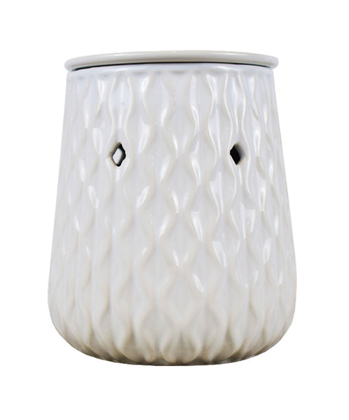 ARRIVING END OF JUNE Wholesale Ceramic White Ripple Wax Melt Burner - Candles Sniffs & Gifts