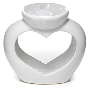 White heart double tea light burner - Candles Sniffs & Gifts