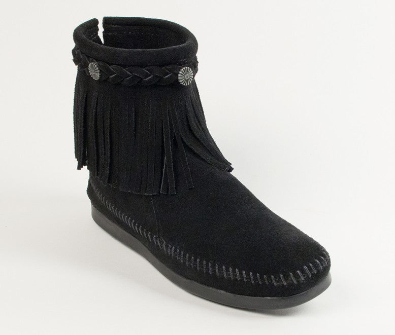 Minnetonka - HI TOP BACK ZIP BOOT BLACK - 299