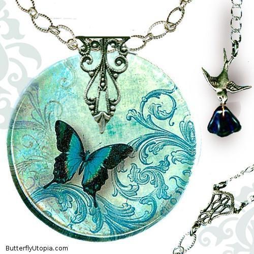 Teal Flight of the Butterfly Necklace