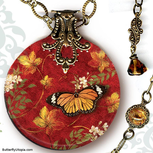 "The Monarchy 18"" Reversible Glass Art Necklace"