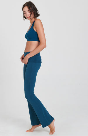 Ruched Bootcut Flare Practice Pant in Blue Moon