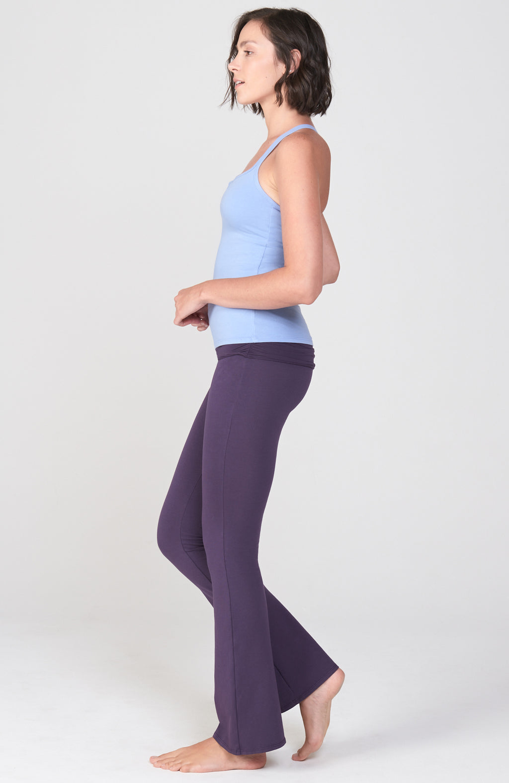 Ruched Waist Practice Pant in Deep Purple