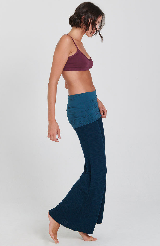 Peacock Blue Surf  Nomad Pant with Fold over skirt and wide flared leg