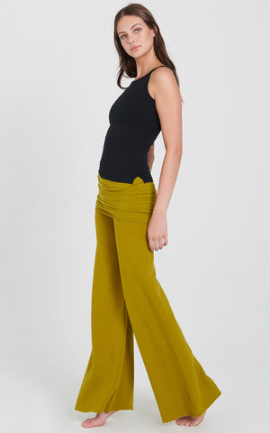 Vibrant Moss Cotton Fleece Nomad Pant with Fold over skirt and wide flared leg