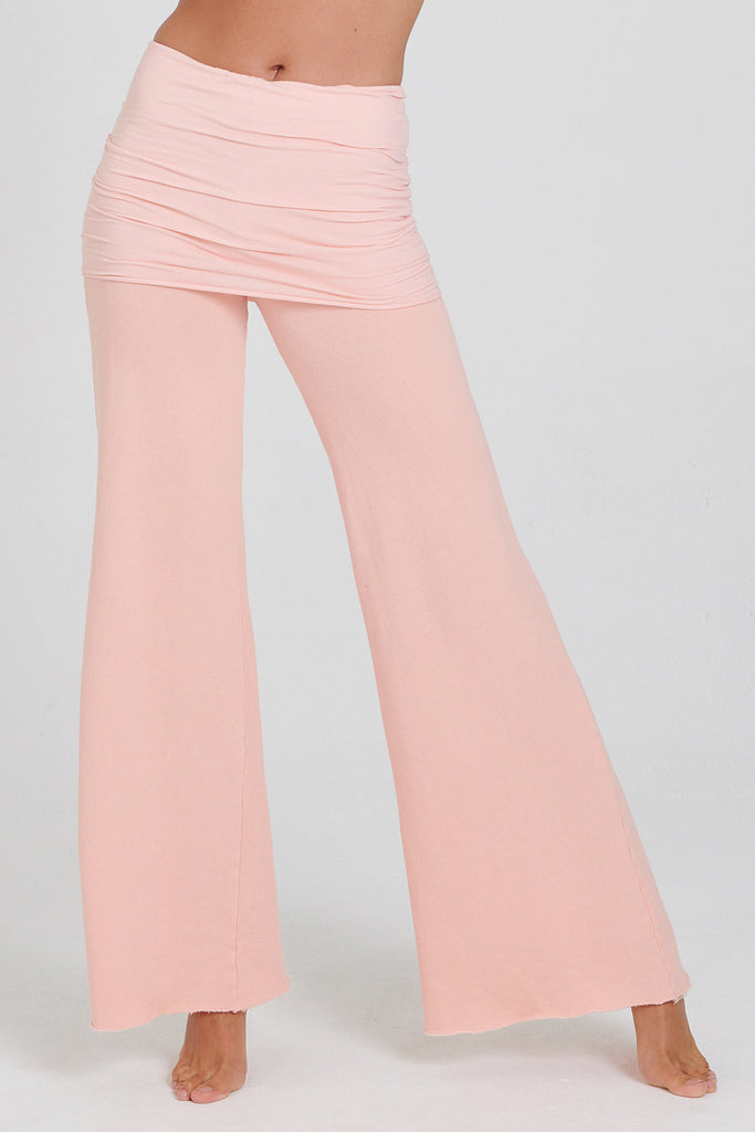 Peach  Cotton Fleece Nomad Pant with Fold over skirt and wide flared leg