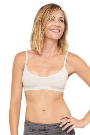 Cream color Organic Cotton Lycra stretchy Bralette. Binding around scoop neck and comfy elastic under bust.