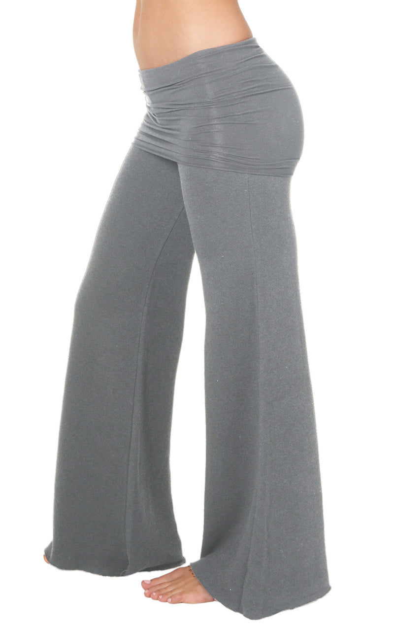 Sterling Grey Cotton Fleece Nomad Pant with Fold over skirt and wide flared leg
