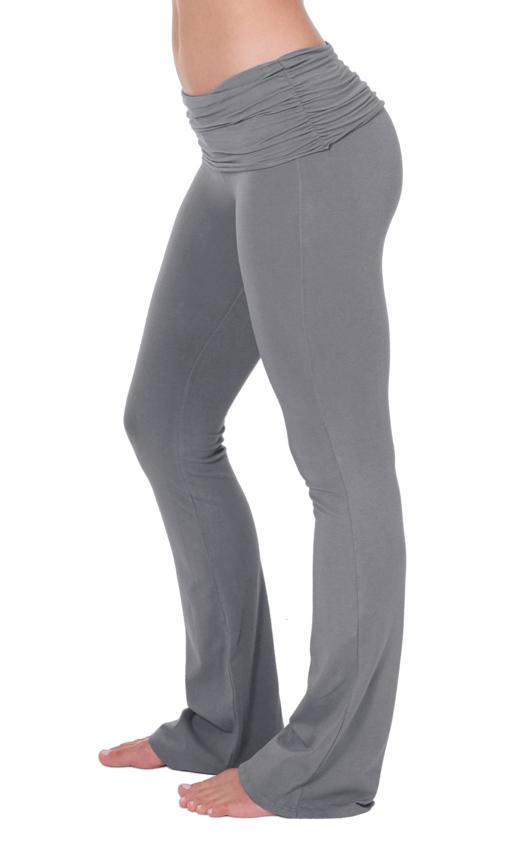 close up side view of Sterling Grey Organic cotton lycra  bootleg flare yoga activewear pant