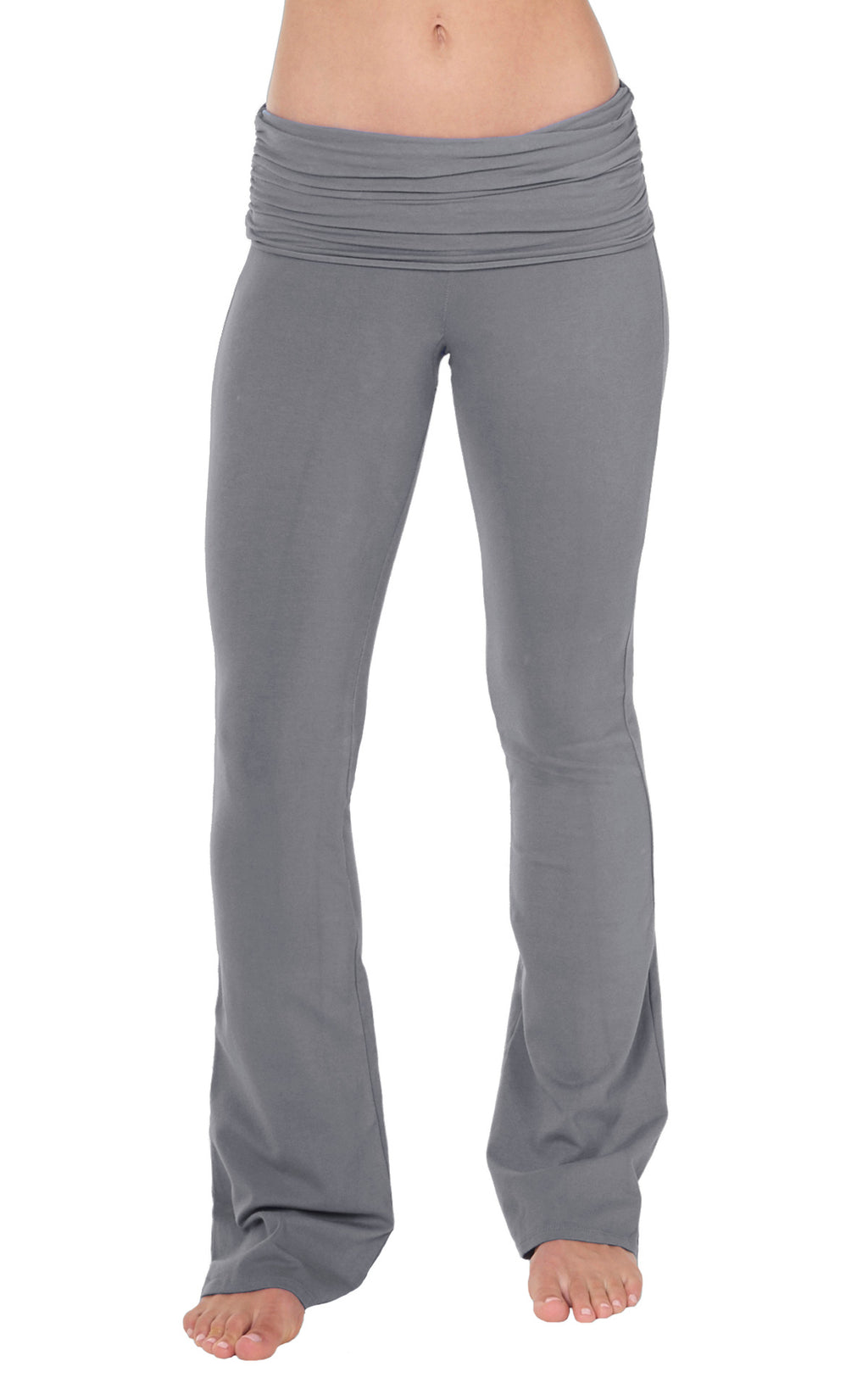 Front view of Sterling Grey Organic cotton lycra  bootleg flare yoga pant