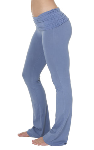 Faded Denim Organic cotton lycra ruched waist bootleg flare yoga activewear pant