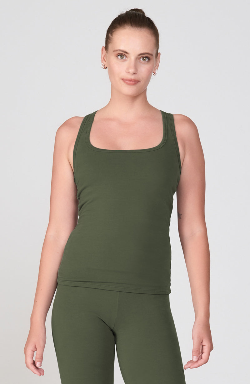 Sueded Half Moon Cutout Racerback Tank