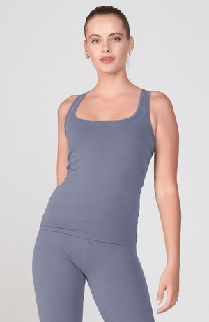 Sueded Half Moon Tank in Jeans
