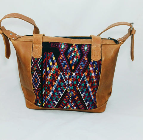 Bella: Large Mayan Tan Leather Day Bag with backpack straps
