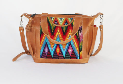 Bella: Mayan Tan Leather Day Bag with Detachable Backpack Straps