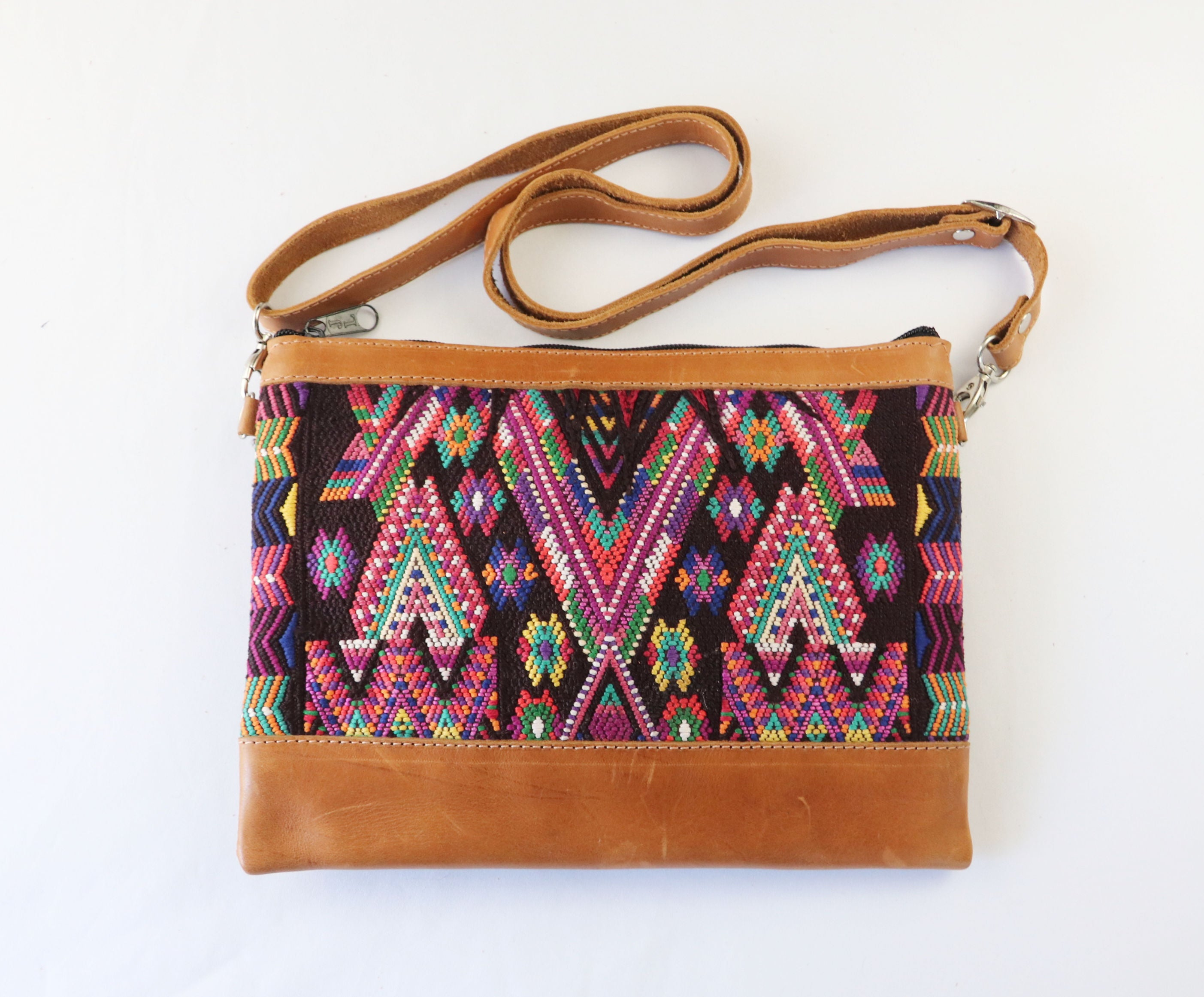 Pana: Tan Leather Crossbody Mayan Purse