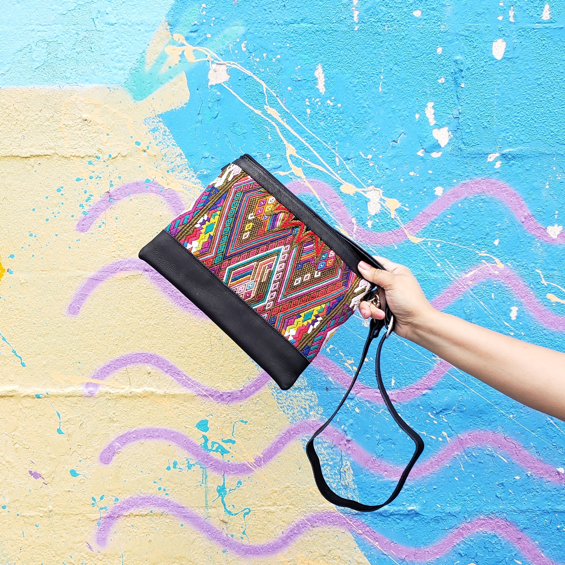 Pana: Black Leather Crossbody Mayan Purse