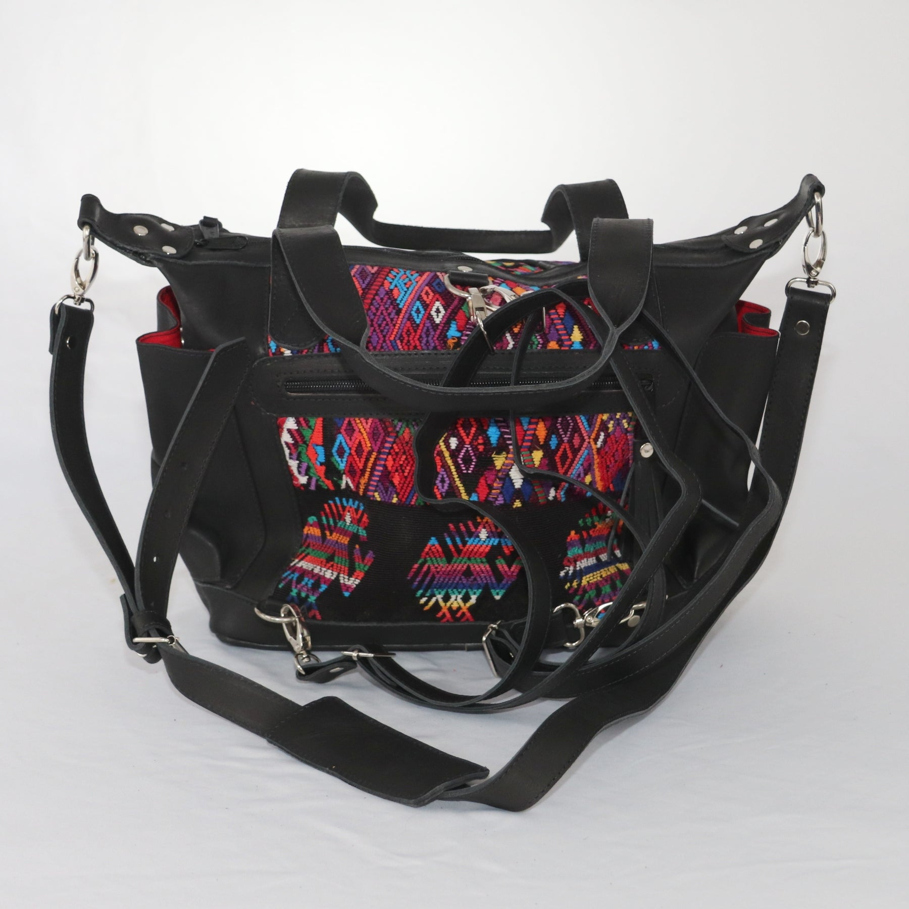 Bella: Small Mayan Black Leather Day Bag with detachable backpack straps