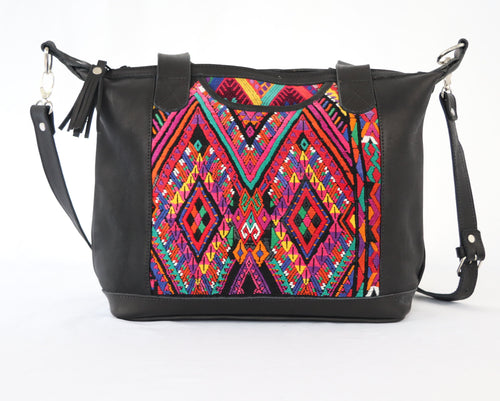 Bella: Small Mayan Black Leather Day Bag