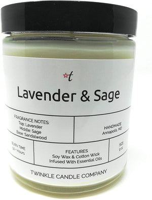 Lavender & Sage Scented 9oz Soy Candle