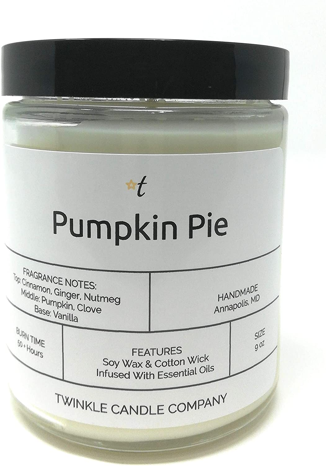 Pumpkin Pie Scented 9oz Glass Candle