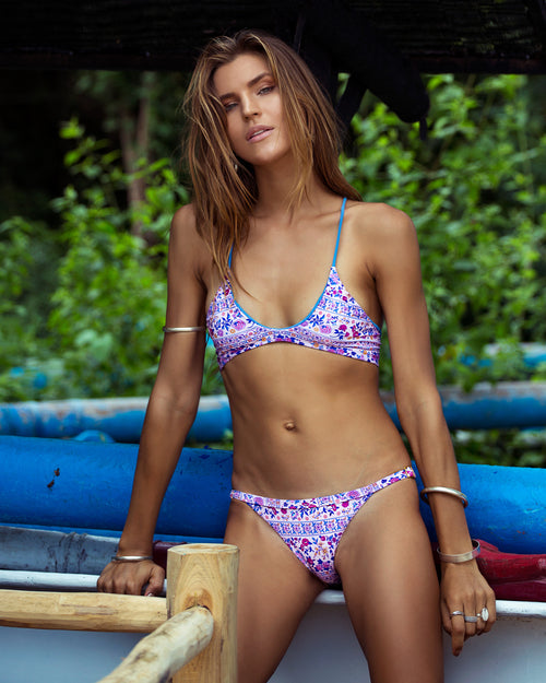 Krui bottoms - Desert Rose - cheeky cut brazilian surf bikinis Cenote Swimwear that stays on in the surf