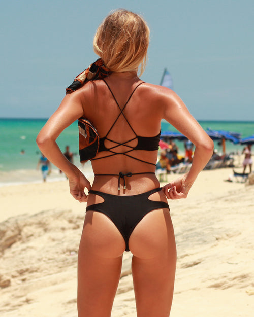 Krui reversible top - Nero black - cheeky cut brazilian surf bikinis Cenote Swimwear that stays on in the surf