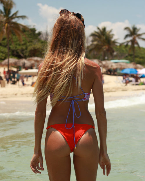 Krui bottoms - Italian Coral - cheeky cut brazilian surf bikinis Cenote Swimwear that stays on in the surf