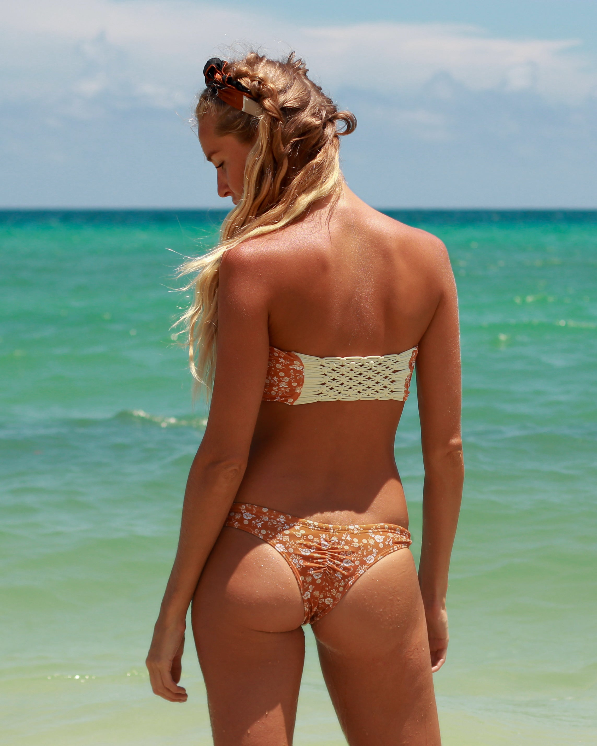 Ipanema Runch btms - Dahlia - cheeky cut brazilian surf bikinis Cenote Swimwear that stays on in the surf