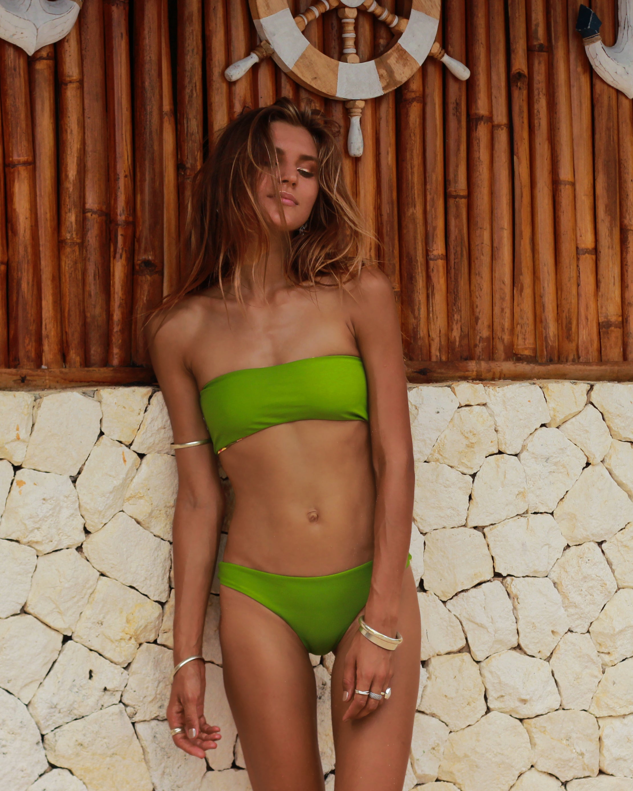 San Clemente Bandeau Top - Wallflower Olive / Moss - cheeky cut brazilian surf bikinis Cenote Swimwear that stays on in the surf