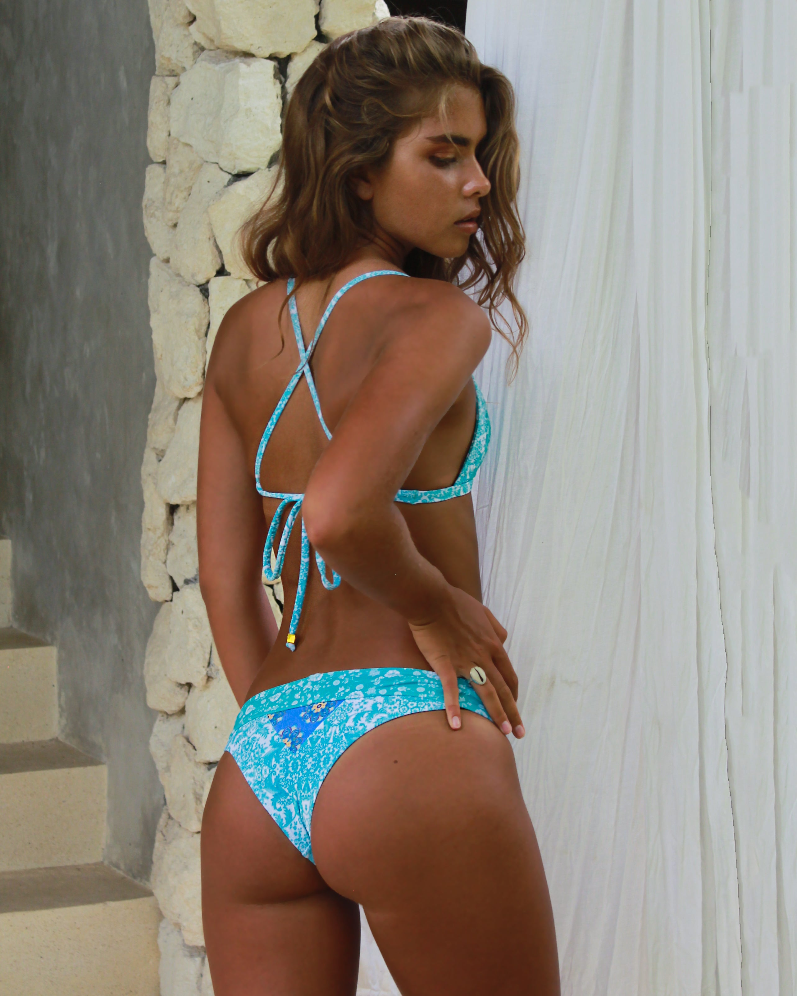 Nexpa Top - Antique / Springfields - cheeky cut brazilian surf bikinis Cenote Swimwear that stays on in the surf