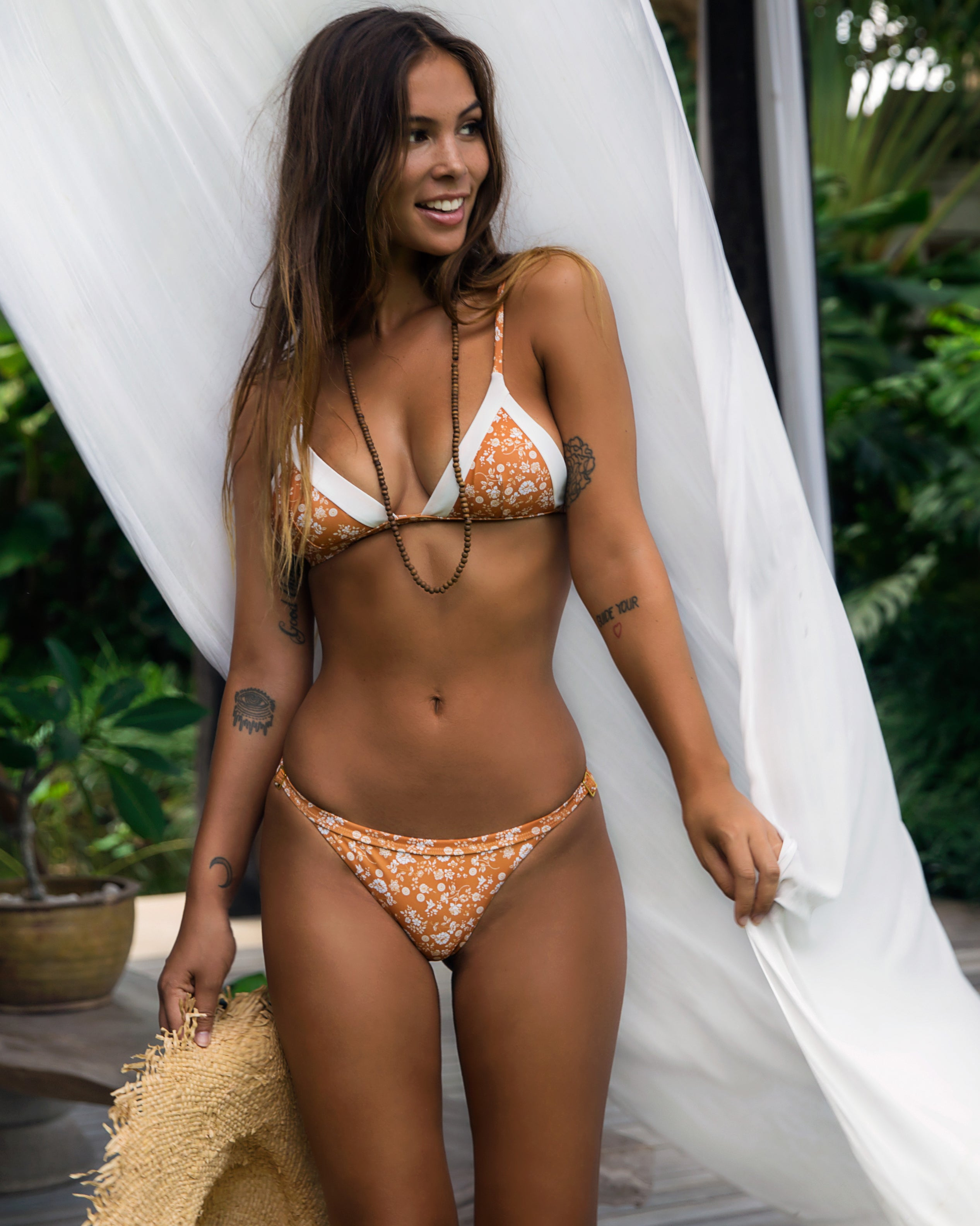 Nexpa Top - Dahlia / Ivory - cheeky cut brazilian surf bikinis Cenote Swimwear that stays on in the surf