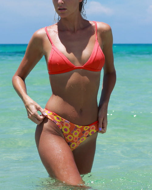 Nexpa Top - Italian Coral - cheeky cut brazilian surf bikinis Cenote Swimwear that stays on in the surf